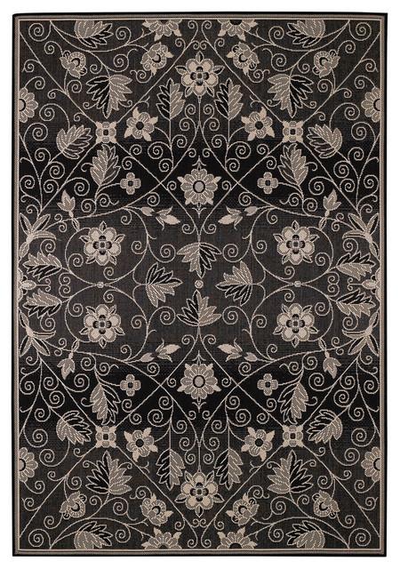 Finesse Garden Maze rug in Black rugs