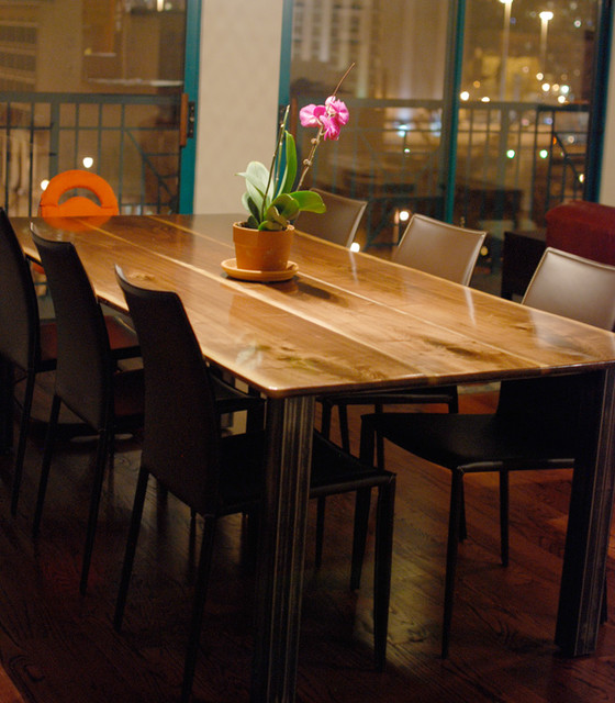 black walnut dining table with square steel legs modern dining tables