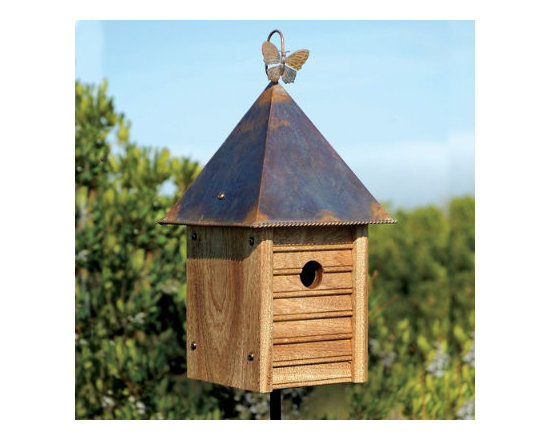 Grandin Road - Hanging Homestead Bird House - Four-sided birdhouse of mahogany. Copper roof with rope-edge trim. Hanging loop and ground stake both included. If you love the organic, natural look, you can carry that fresh appeal into your garden with the Staked Homestead Birdhouse. With its natural mahogany siding and copper-hipped roof, this finely crafted avian residence suggests rustic in a refined way, down to the bronze plating on the screws and the twirled-rope edging on the roof. Hang this birdhouse by the butterfly loop or stake it in the ground.  .  .  . Made in USA.