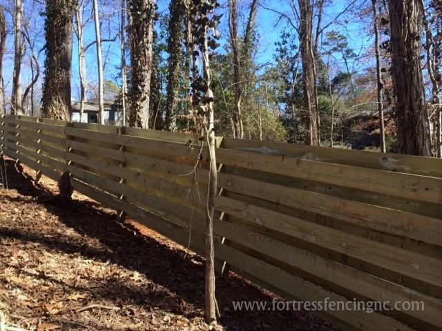 Custom Horizontal Shadowbox Style Wooden Fence
