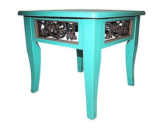 Hand Painted Turquoise Asian Side Table -
