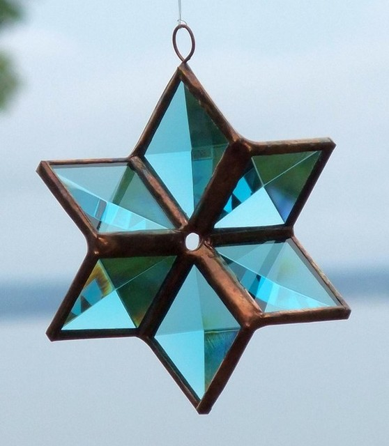Turquoise Beveled Stained Glass Star Ornament by SNL Creations
