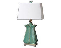 Calciano Teal Table Lamp traditional-table-lamps