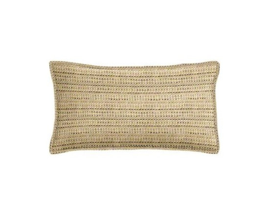 "Cushion Source - Sunbrella Jive Sparrow Outdoor Lumbar Pillow - The 20"" x 12"" Sunbrella Jive Sparrow Outdoor Lumbar Pillow features a beautiful weave of fibers in beige and tan with stripes of dark brown."