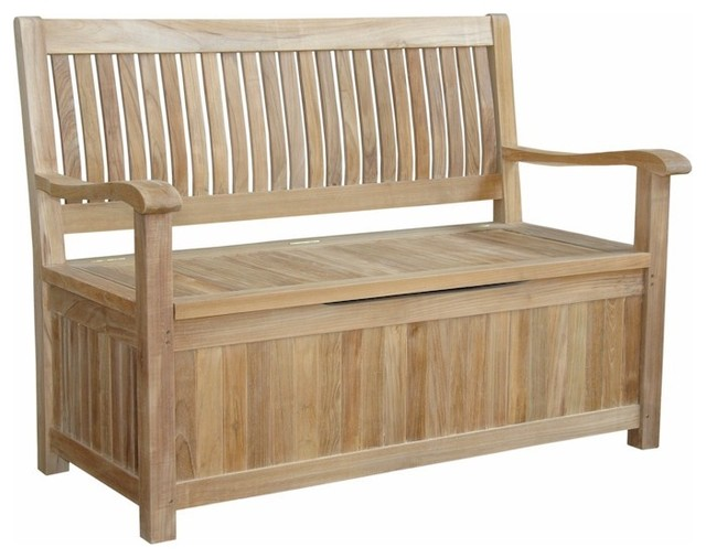 Del Amo Teak Storage Bench Traditional Accent And