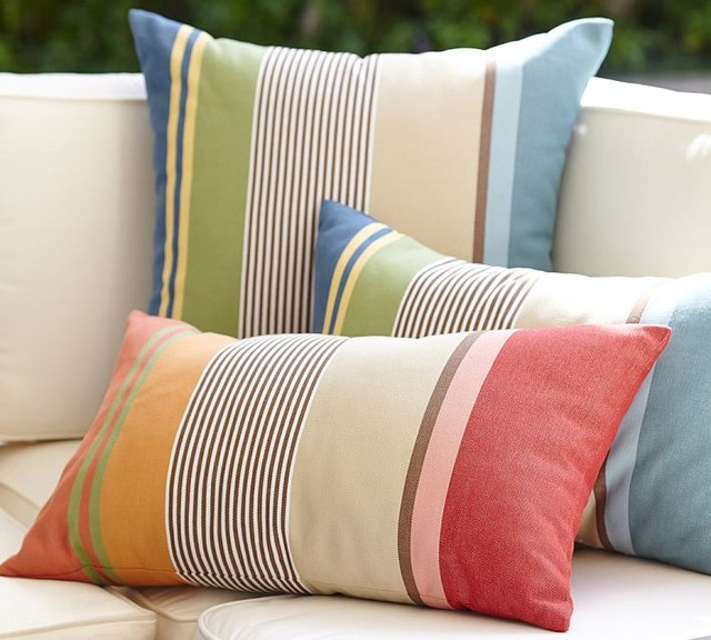 Hawthorne Stripe Indoor/Outdoor Lumbar Pillow - Contemporary - Outdoor Cushions And Pillows ...