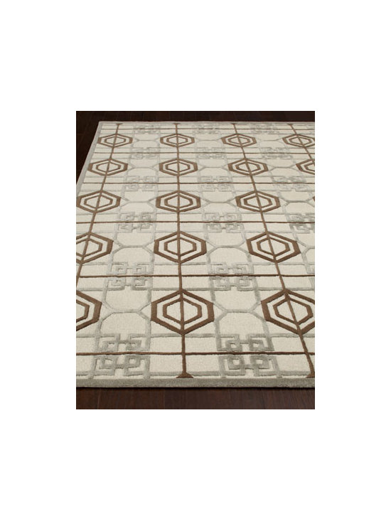 "Thom Filicia - Thom Filicia ""Marcott"" Rug - A fun geometric pattern lets this handmade rug mix well with modern, contemporary, and transitional settings. Hand tufted of wool and viscose. Cotton backing. Sizes are approximate. Imported. See our Rug Guide for tips on how to measure for a...."