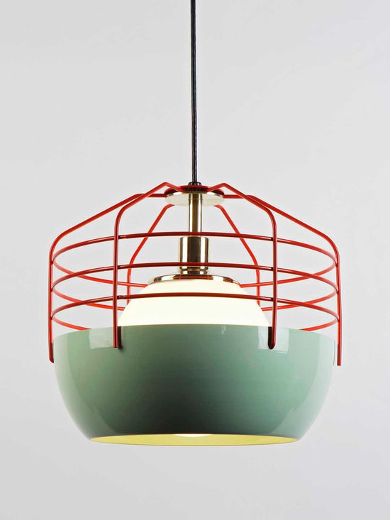 Bluff City Pendant - 14 inch - Mint/Red - Bluff City merges a traditional pendant shade and a wire cage into an industrially inspired but refined pendant. A variety of finish combinations gives the light a vaguely postmodern feel that echoes the Memphis movement. However, the Tennessee town, known as Bluff City, was the inspiration for the series. By Jonah Takagi for Roll & Hill. Photo credit: Joseph de Leo