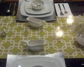 Geo Modern Table Runner in Citrine modern-tablecloths