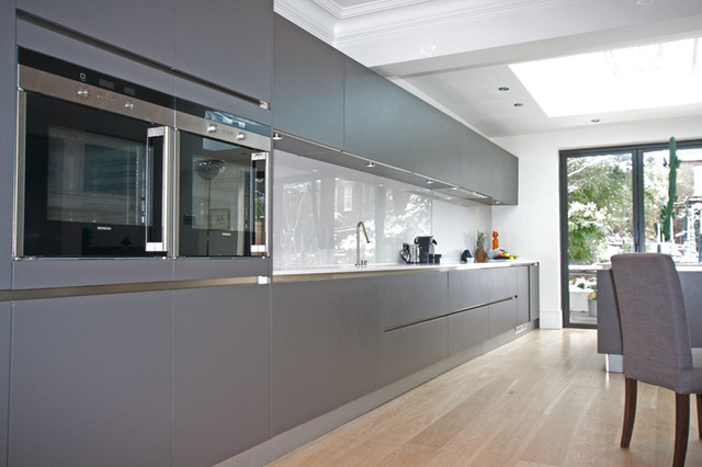 Grey Handleless Kitchen  Modern  Kitchen Cabinetry  other metro