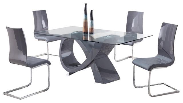 D989DT + D989DCGrey Lacquer & Vinyl Five Piece Dining Set modern-dining-sets
