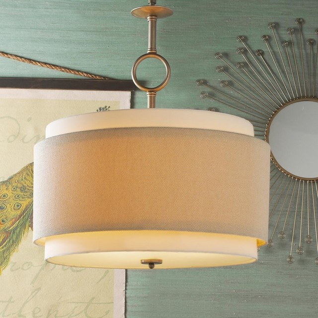 Double Drum Pendant Large Pendant Lighting By Shades Of Light