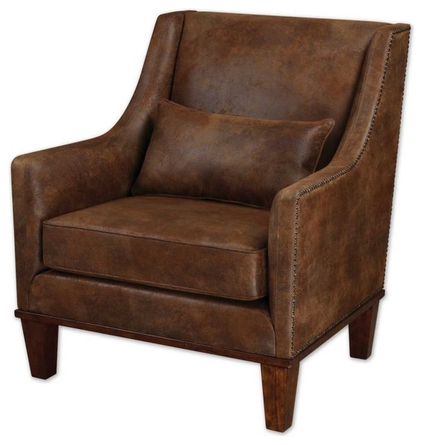 Clay rustic leather look arm chair rustic armchairs for Furniture armchairs