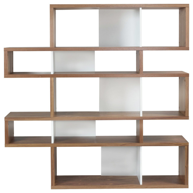 Temahome London Bookcase, Walnut and Pure White - Modern - Bookcases ...