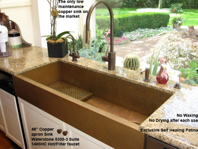 48 copper apron front sink by rachiele eclectic for Rachiele sink complaints