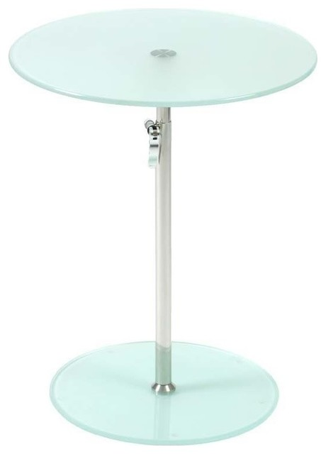 Eurostyle Radinka Side Table in Frosted Glass/ Stainless Steel modern-side-tables-and-end-tables