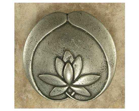 """Anne At Home - 1 3/4"""" Asian Lotus Flower Knob (Set of 10) (Pewter Bronze) - Finish: Pewter Bronze. Hand cast and finished. Made in the USA. Pewter with brass insert. Collection: Asian. 1.75 in. L x 1.75 in. W x 0.75 in. H"""