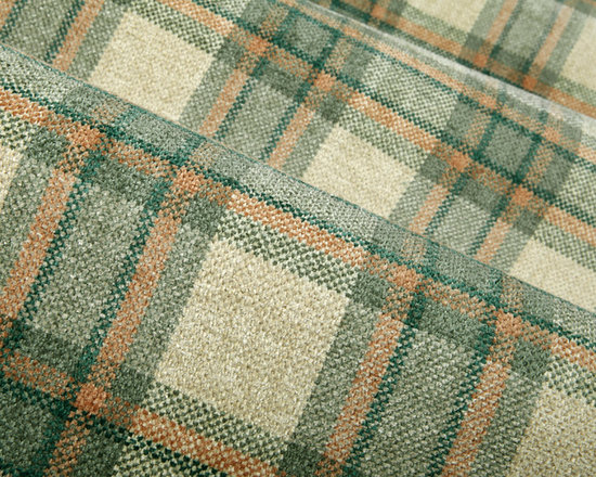Homestead Upholstery in Marine - Homestead Upholstery in Marine green.  A wonderfully soft, chenille beige plaid fabric that is ideal for reupholstering sofas, easy chairs or creating a cozy throw pillow.  A plaid design with color tones in green, beige and warm peach.  This traditional quality fabric has a soft hand is offered at a great price. Homestead Upholstery is also available in Oak.