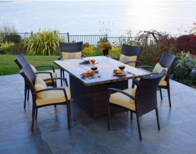 Wicker Fire Pit Dining Set Modern Dining Tables By Hayneedle
