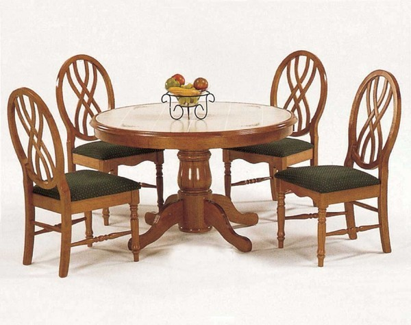 Yuan Tai Furniture Oak Round Tile 5 Piece Dining Set  : transitional dining tables from www.houzz.com size 600 x 474 jpeg 72kB