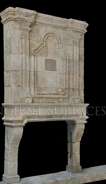 Antique Stone Fireplaces mediterranean-indoor-fireplaces
