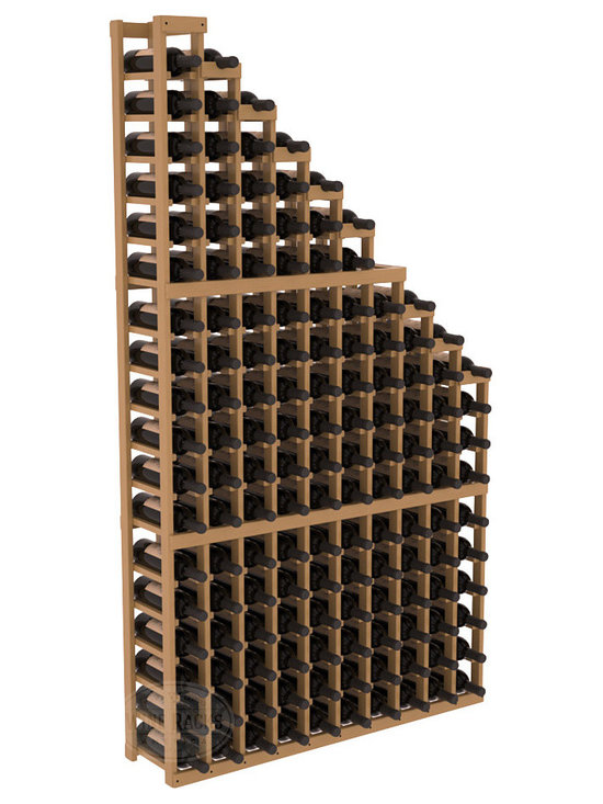 Wine Cellar Waterfall Display Kit in Pine with Oak Stain + Satin Finish - A beautiful cascading waterfall of wine bottle displays. Create a spectacle of 9 of your favorite vintages. Designed within our modular specifications and to Wine Racks America's superior product standards, you'll be satisfied. We guarantee it.
