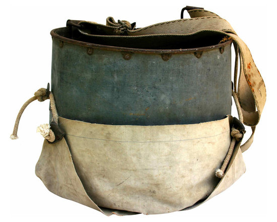 Orchard Pickers Pack - Vintage metal and canvas apple or orchard picking bag. Great industrial appeal for display or to use for flowers on the porch.