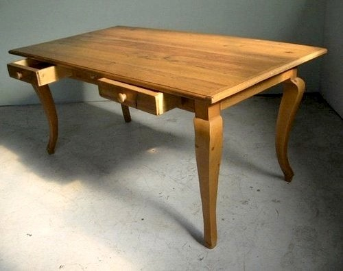 Rustic Oak Table With Drawers And Jcab Leg Farmhouse