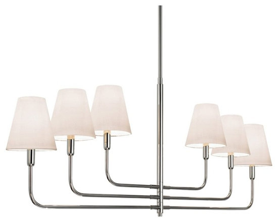 "Sonneman - Sonnemann Tempo 54 1/2"" Wide Nickel Modern Chandelier - Casual contemporary or transitional styles of room decor will make this beautiful 6-light chandelier feel right at home. Slender arms in polished nickel finish hold off-white mini bell shades that cover its six lights. Arms are able to rotate 90° to allow customization of your illumination needs. A fabulous look in home lighting from Sonnemann.  Polished nickel finish metal. Off-white linen shades. Takes six 60 watt bulbs (not included). 54 1/2"" wide. 21"" high. Canopy is 5"" wide. Includes three 12"" and one 6"" stem downrods.  Polished nickel finish metal.    Off-white linen shades.   Takes six 60 watt bulbs (not included).   54 1/2"" wide.   21"" high.   Canopy is 5"" wide.   Includes three 12"" and one 6"" stem downrods."