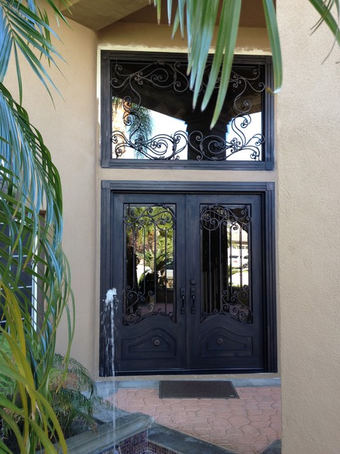 Orange wrought iron fron doors and transom straight top traditional-front-doors