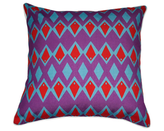 """Loom and Mill - Loom and Mill Diamond Decorative Pillow, 18"""" x 18"""", Purple - We love these Mid-Century inspired decorative pillows. They add amazing pops of color and a unique geometric style without leaving out comfort and quality.  Spot clean only."""