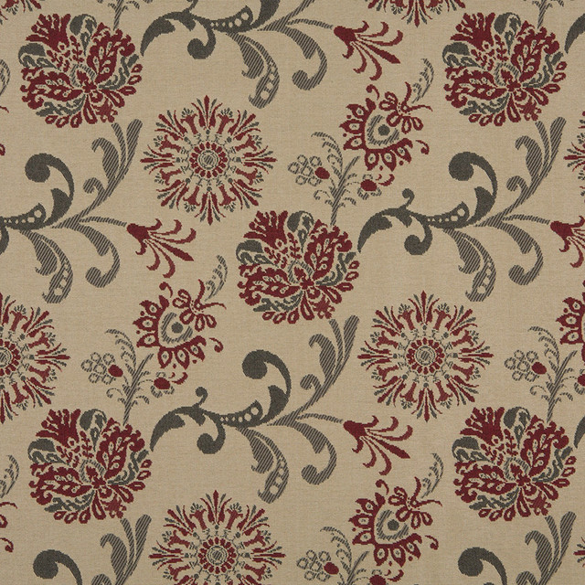 Red Gray And Beige Floral Foliage Indoor Outdoor Upholstery Fabric By The Yard contemporary-upholstery-fabric