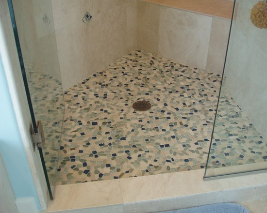 Sea Glass Blend pebble stone and glass tile - New sea glass pebble stone mosaic.