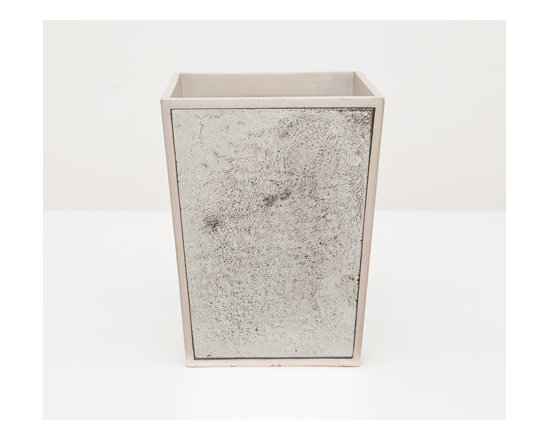 Atwater Wastebasket-Square - Your bathroom should reflect your exquisite taste! Antiqued mirror trimmed with silver-leafed wood evokes a charming depth. Choose a wastebasket or tissue holder for a dash of vintage chic.