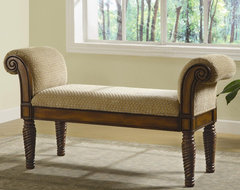 Benches Upholstered Bench with Rolled Arms by Coaster Sku: 100224 traditional-benches
