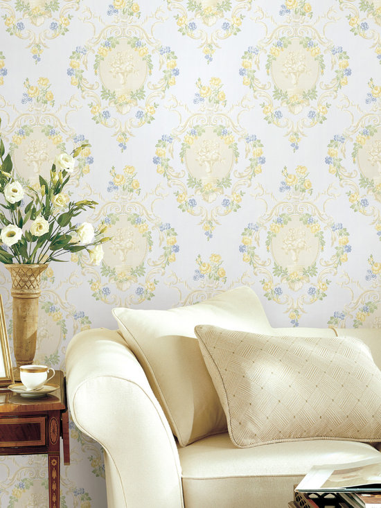 Maybelle Mint CAmeo Damask Brewster Wallpaper -