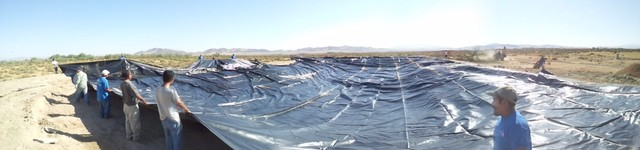 Newberry Springs Ca. 850,000 gallon Pond with Fantastic Waterfalls Design landscape