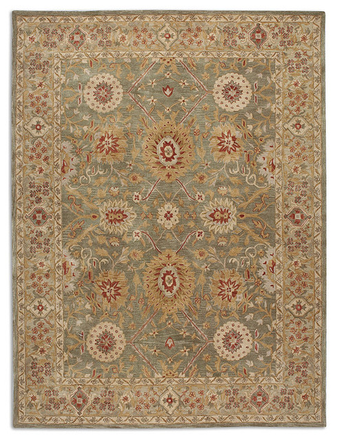 green anatolia fields wool area rug traditional paintings by frontgate