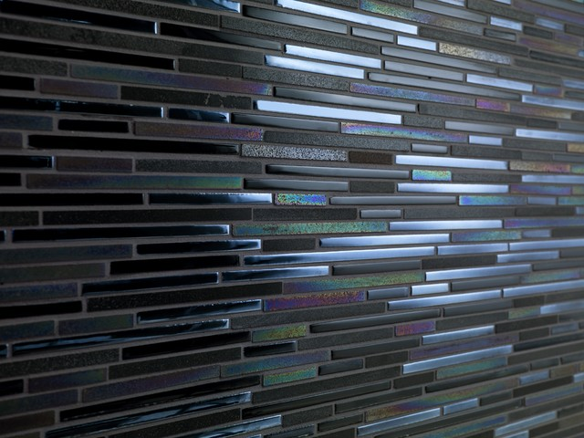 Avatar by Dune - linear stone & glass mosaic on mesh contemporary bathroom tile