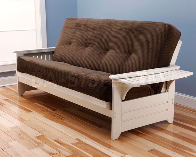 Phoenix Antique White Futon Frame with Futon Mattress in
