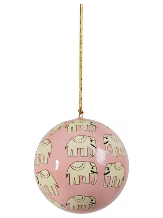 Hand-Painted Ball Ornament, Hathi, Pink -