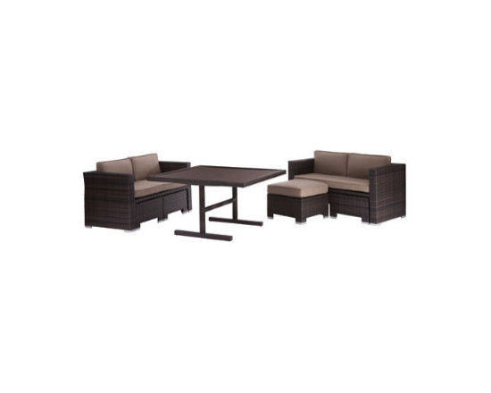Grandin Road - Deep Water Outdoor Outdoor Loveseat Dining Set - Outdoor dining set with 2 wicker loveseats, 2 matching ottomans and a glass table. Loveseats and ottomans are cushioned. Brown wicker with aluminum construction for all-weather use. Arrives ready for you and your guests to enjoy from the very first day. Dine al fresco in style and comfort with the Deep Water Outdoor Loveseat Dining Set. Instead of chairs, you and your guests will be relaxing in two plush loveseats, each with its own ottoman. Cluster the fashionable wicker-clad loveseats around the glass-top dining table and take casual dining to the next comfort level.  .  .  .  . Imported.