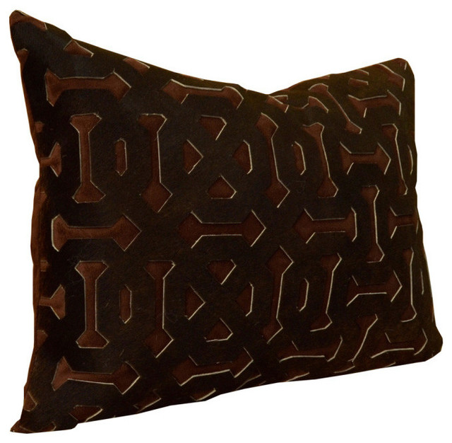 Decorative Pillows Leather : Chocolate Hairon Leather Pillow - Rustic - Decorative Pillows - by Trovati Studio