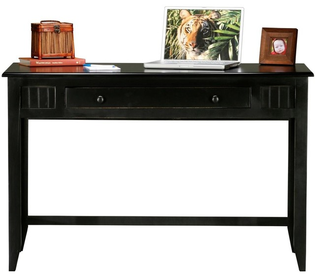 Coastal Writing Desk In Antique Black Tempting Turquoise