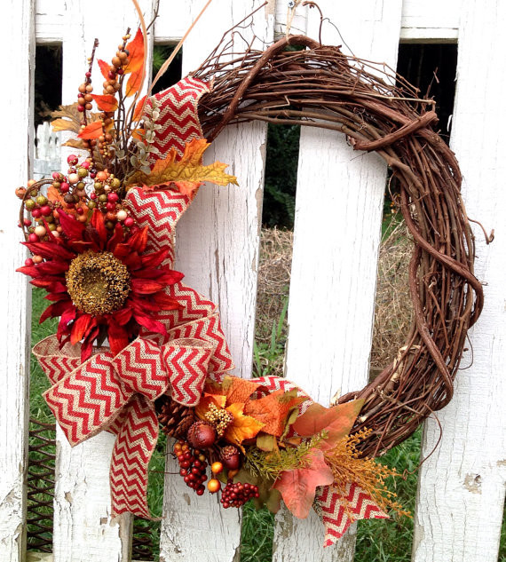 Fall Wreath, Red Sunflowe By Wreath Unique
