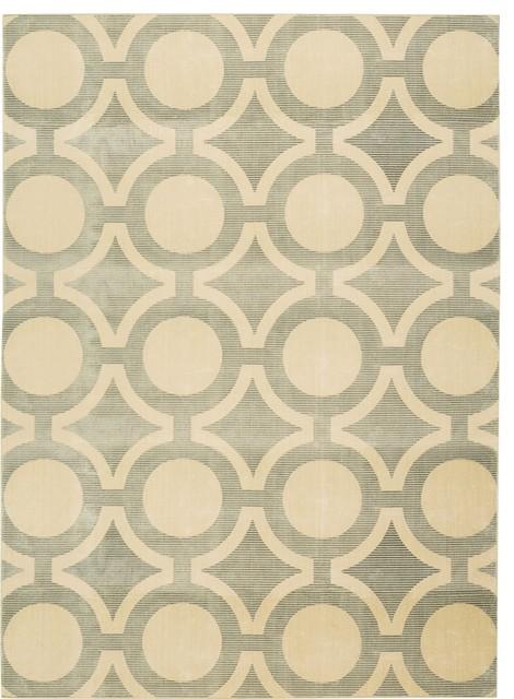 "Luminance Cream Modern Geometric 9'3"" x 12'9"" Nourison Rug by RugLots contemporary-rugs"