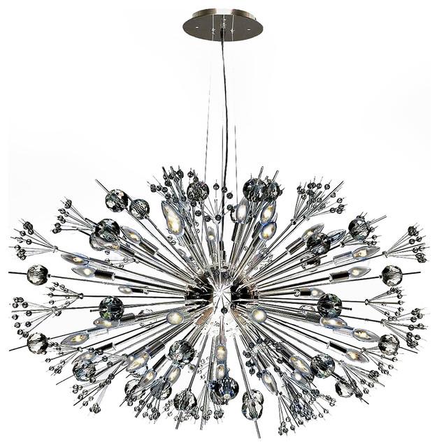 Starburst 24 Light Chrome Finish Crystal Sputnik