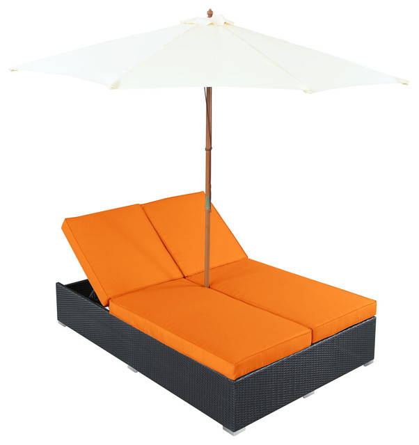 Arrival Chaise in Espresso Orange Modern Indoor Chaise Lounge Chairs by