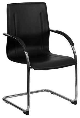 Flash Furniture Side Chair with Chrome Sled Base - Black contemporary-task-chairs