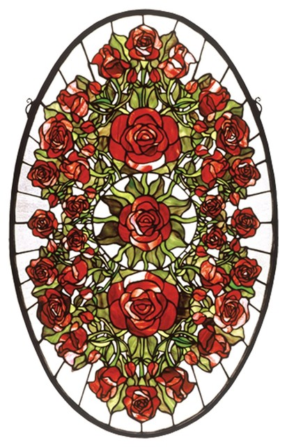 Meyda Tiffany Oval Rose Garden Window X-37194 contemporary-stained-glass-panels